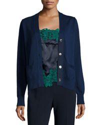 Sacai - Blue Long-sleeve Knit Cardigan - Lyst