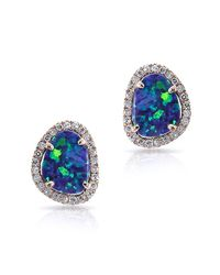 Anne Sisteron - Blue 14kt Rose Gold Small Organic Opal Diamond Stud Earrings - Lyst
