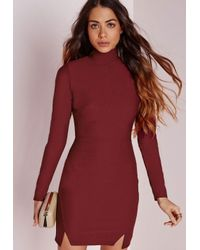 Missguided - Purple Crepe High Neck Bodycon Dress Burgundy - Lyst