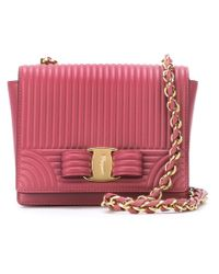 Ferragamo - Pink Ginny Textured Cross-Body Bag - Lyst