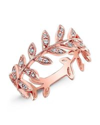 Anne Sisteron | Pink 14kt Rose Gold Diamond Wreath Ring | Lyst