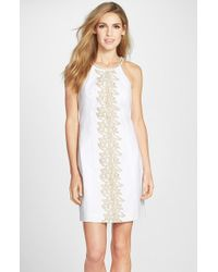 Lilly Pulitzer - White 'pearl' Embroidered Cotton Shift Dress - Lyst