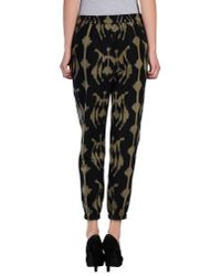 Pyrus - Studio Black and Green Ikat Print Cotton Trousers - Lyst