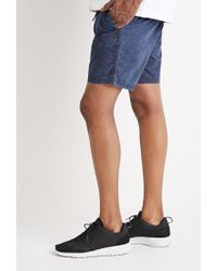 Forever 21 | Blue Mineral Wash Drawstring Shorts for Men | Lyst