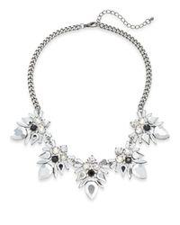Cara   Metallic Mixed Stone Five-drop Statement Necklace/silvertone   Lyst