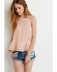 Forever 21 | Pink Eyelet Peplum Cami | Lyst