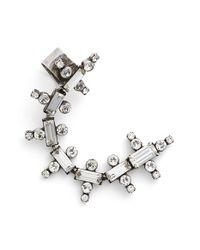 DANNIJO | Metallic 'zosia' Ear Climber - Clear Crystal/ Silver | Lyst