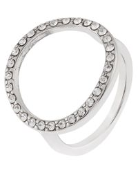 Accessorize - Metallic Open Circle Ring With Swarovski® Crystals - Lyst