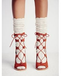 Free People | Brown Lola Lace Up Heel | Lyst