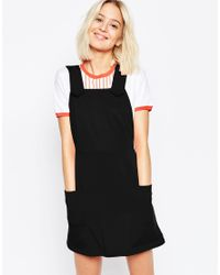 ASOS - Black Ponte Pinafore Dress With Stitch Detail - Lyst