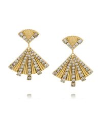 Elizabeth Cole - Metallic Dancing Triangle Gold-plated Swarovski Crystal Earrings - Lyst