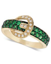 Le Vian | Green Tsavorite (5/8 Ct. T.w.) And Diamond Accent Buckle Ring In 14k Gold | Lyst