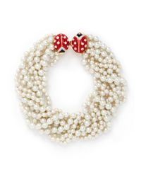 Kenneth Jay Lane - White Ladybird Clasp Pearl Choker Necklace - Lyst