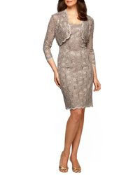 Alex Evenings | Metallic Sequinned Lace Sheath Dress and Bolero | Lyst