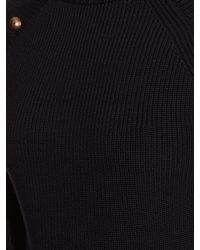 Chloé - Blue Buttoned Round-neck Ribbed-knit Sweater - Lyst