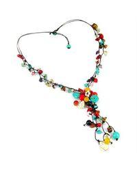 Aeravida - Multicolor Pretty Long Multi Stone Cluster Drop Necklace - Lyst