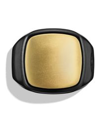 David Yurman | Signet Ring In Black Titanium & Gold | Lyst