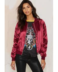 Nasty Gal | Red Satin Comfort Bomber Jacket | Lyst