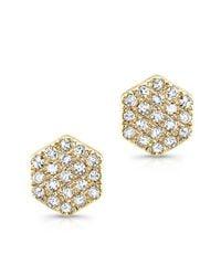 Anne Sisteron | 14kt Yellow Gold Diamond Hexagon Diamond Stud Earrings | Lyst