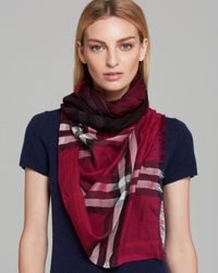 Burberry - Pink Ombre Gauze Giant Check Scarf - Lyst