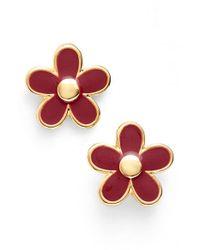 Marc By Marc Jacobs - Metallic 'carry Forward' Flower Stud Earrings - Garnet - Lyst