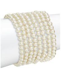Kenneth Jay Lane | White Faux Pearl Cuff Bracelet | Lyst