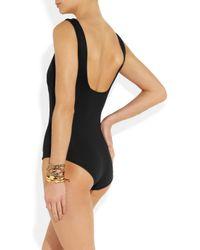 Lanvin | Black Plungefront Swimsuit | Lyst