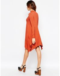 ASOS - Black Swing Dress With Dipped Sides - Lyst