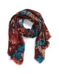 Burberry Prorsum | Red Cluster Floral Cashmere Scarf | Lyst