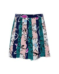 Nina Ricci - Blue Lace-Inset And Printed Silk Mini Skirt - Lyst
