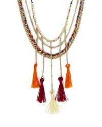 BCBGMAXAZRIA - Metallic Boho Braided Tassel Necklace - Lyst