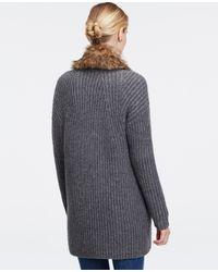 Ann Taylor - Metallic Faux Fur Sweater Jacket - Lyst