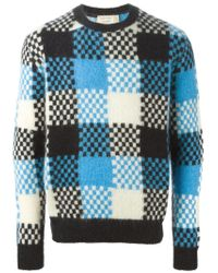 Maison Kitsuné - Blue Bold Checked Sweater for Men - Lyst