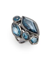 Ippolita | Diamond, London Blue Topaz & Sterling Silver Ring | Lyst