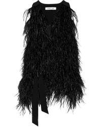 Elizabeth and James | Black Xiomara Feather-embellished Crepe Vest | Lyst