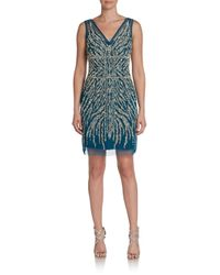 Adrianna Papell - Blue Sequined & Beaded Cocktail Dress - Lyst