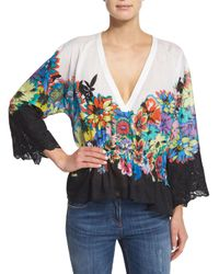 Roberto Cavalli - White Floral-print High-low V-neck Top - Lyst