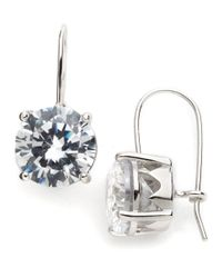 Lord & Taylor | Metallic Sterling Silver And Cubic Zirconia Drop Earrings | Lyst