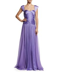 Maria Lucia Hohan - Purple Zanzibar Sweetheart-neck Pleated Silk Gown - Lyst