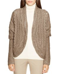 Lauren by Ralph Lauren | Natural Cable-knit Cardigan | Lyst