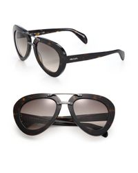 Prada | Black 52mm Pilot Sunglasses | Lyst