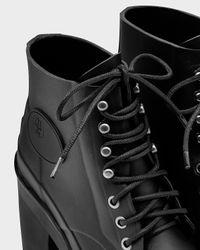 HUNTER - Black Women's Original Block Heel Lace-up Bullseye Boots - Lyst