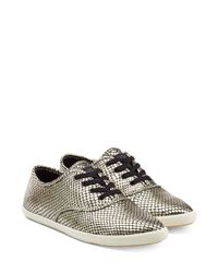 Marc By Marc Jacobs | Metallic Cara Embossed Leather Sneakers - Gold | Lyst