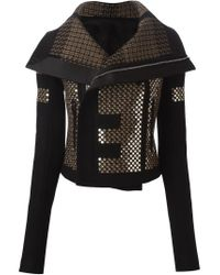 Rick Owens - Black Sequin-Embellished Biker Jacket  - Lyst