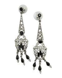 Ben-Amun | Metallic Black And Silver Crystal Chandelier Earrings | Lyst