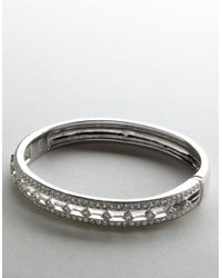 Nadri | White Crystal Track Bangle | Lyst