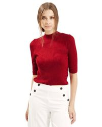 TOPSHOP - Red Funnel Neck Ribbed Top - Lyst
