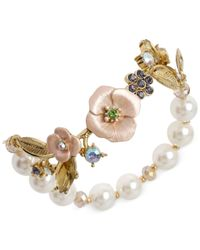 Betsey Johnson - Metallic Gold-Tone Flower And Faux-Pearl Half Stretch Bracelet - Lyst