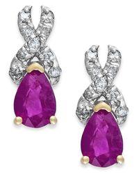 Macy's | Purple Ruby (1 Ct. T.w.) And Diamond (1/8 Ct. T.w.) X-earrings In 14k Gold | Lyst