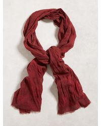 John Varvatos | Red Tie Dye Micro Plaid Scarf for Men | Lyst